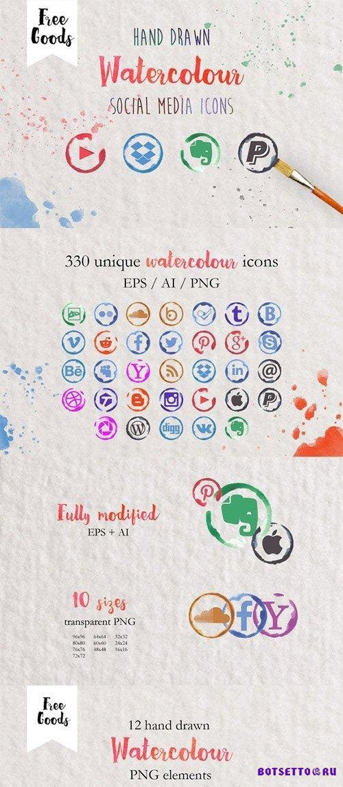 330 Watercolor Social media icons