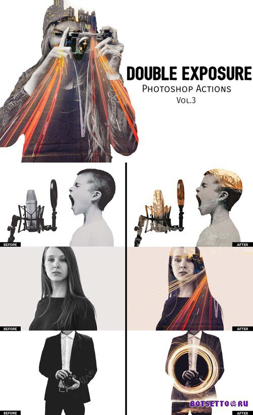 Double Exposure Photoshop Action Vol.3