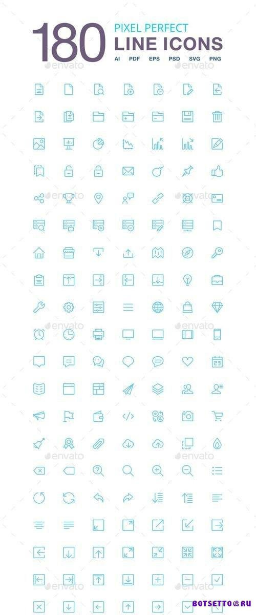 180 Vector Line Icons Pack