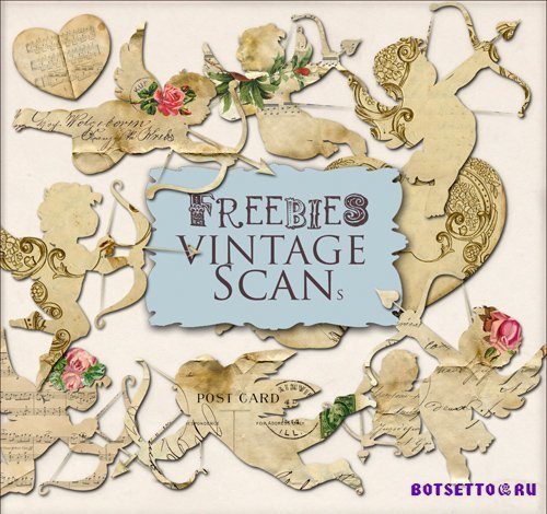 Scrap Kit - Paper Angels in Vintage Style